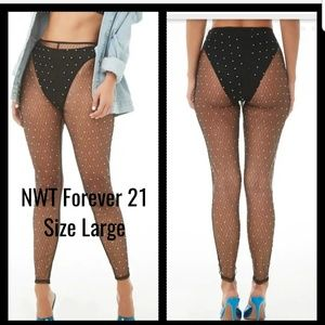 NWT Forever 21Sheer Mesh Jeweled Pants Large